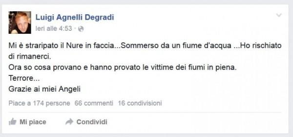 Post di Luigi Agnelli prima di morire